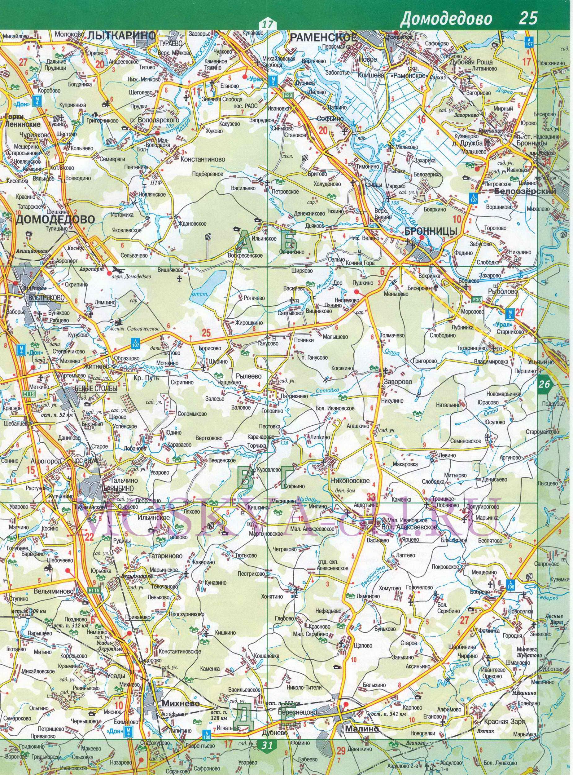 Подробная карта дорог московской